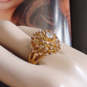 Retro 60s Cluster Ring 18k Yellow Gold HGE French